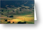 Lush Greeting Cards - Afternoon Sunlight On Round Valley Greeting Card by Marc Crumpler