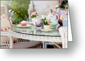 The Buffet Photo Greeting Cards - Afternoon tea and cakes Greeting Card by Simon Bratt Photography