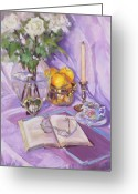 Purples Greeting Cards - Afternoon Tea Greeting Card by Laura Lee Zanghetti