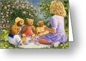 Teddy Bear Greeting Cards - Afternoon Tea Greeting Card by Susan Rinehart