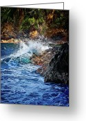Big Island Greeting Cards - Against The Rocks Greeting Card by Christopher Holmes