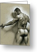 Man Drawings Greeting Cards - Against the wall Greeting Card by Chris  Lopez