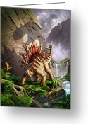 Dinosaur Greeting Cards - Against the Wall Greeting Card by Jerry LoFaro