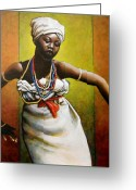 Black Art Greeting Cards - Agbadza Dancer Greeting Card by Carla Nickerson