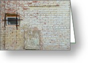 Deteriorated Greeting Cards - Aged Brick Wall with Character Greeting Card by Nikki Marie Smith
