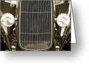 Museum Print Greeting Cards - Aged Classic Car Greeting Card by M K  Miller