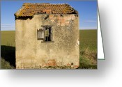 Cabin Window Greeting Cards - Aged hut in Auvergne. France Greeting Card by Bernard Jaubert