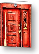 Old Doors Greeting Cards - Aged n Red Greeting Card by Emily Stauring