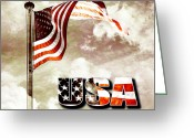 Flag Day Greeting Cards - Aged USA flag on pole Greeting Card by Phill Petrovic