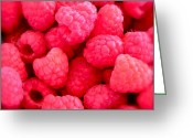 Fresh Picked Fruit Greeting Cards - Agenda for today ... raspberry jam Greeting Card by Gwyn Newcombe
