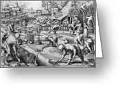 1555 Greeting Cards - AGRICULTURE: SPRING, c1555 Greeting Card by Granger