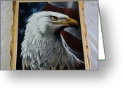 Usa Flag Pastels Greeting Cards - Aguila Greeting Card by Kasper Castillo