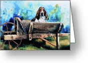 Hound Greeting Cards - Ah Pooey Greeting Card by Hanne Lore Koehler