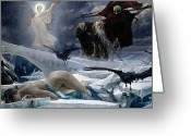 Judgement Day Greeting Cards - Ahasuerus at the End of the World Greeting Card by Adolph Hiremy Hirschl