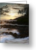 Sunset Posters Greeting Cards - Ahe lau Makani O Paako Greeting Card by Sharon Mau