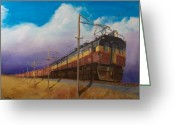Trains Painting Greeting Cards - Ahead of the weather Greeting Card by Christopher Jenkins