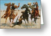 Open Range Greeting Cards - Aiding A Comrade Greeting Card by Pg Reproductions