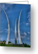 Tribute Greeting Cards - Air Force Memorial IV Greeting Card by Steven Ainsworth
