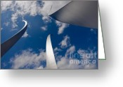 Cloudscape Greeting Cards - Air Force Memorial Greeting Card by Louise Heusinkveld