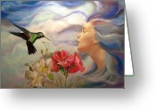 Fantasy Bird Pastels Greeting Cards - Air Greeting Card by Gin Lammert