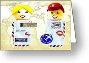 Vintage Map Digital Art Greeting Cards - Air Heads Greeting Card by Ricky Sencion