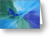 Ski Art Painting Greeting Cards - Air Greeting Card by Lance Bifoss