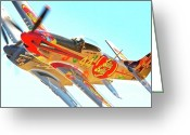 P-51 Greeting Cards - Air Racing Reno Style Greeting Card by Gus McCrea