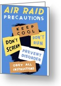 States Greeting Cards - Air Raid Precautions Greeting Card by War Is Hell Store