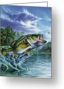Dragonfly Greeting Cards - Airborne Bass Greeting Card by JQ Licensing