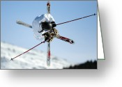 Ski Jump Greeting Cards - Airborne Skier Greeting Card by Ria Novosti