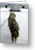 Snow Boarding Greeting Cards - Airborne Soldiers Board A C-17 Greeting Card by Stocktrek Images