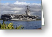Frigate Greeting Cards - Aircraft Carrier Uss Abraham Lincoln Greeting Card by Stocktrek Images