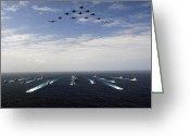 Aircraft Carrier Greeting Cards - Aircraft Fly Over A Group Of U.s Greeting Card by Stocktrek Images