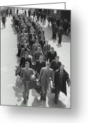 18-19 Years Greeting Cards - Airforce Cadets Walking In Rows (b&w) Greeting Card by Hulton Archive