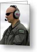 Transceiver Greeting Cards - Airman Conducts Engine Start Up Checks Greeting Card by Stocktrek Images
