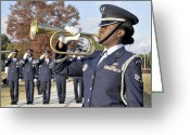 Veteran Photography Greeting Cards - Airman Plays Taps During The Veterans Greeting Card by Stocktrek Images