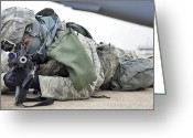 Whiteman Photo Greeting Cards - Airman Provides Security At Whiteman Greeting Card by Stocktrek Images