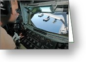 Control Greeting Cards - Airman Refuels A B-52 Stratofortress Greeting Card by Stocktrek Images