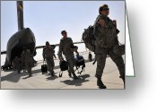 Camouflage Clothing Greeting Cards - Airmen Arrive In Iraq In Support Greeting Card by Stocktrek Images