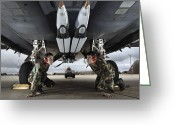 Fighter Jets Greeting Cards - Airmen Check The Gbu-39 Small Diameter Greeting Card by Stocktrek Images
