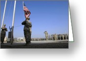 American Airmen Greeting Cards - Airmen Hold A Retreat Ceremony Greeting Card by Stocktrek Images