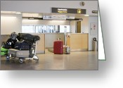 Airport Concourse Greeting Cards - Airport Baggage Area Greeting Card by Jaak Nilson