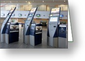 Airport Concourse Greeting Cards - Airport Check In Terminals Greeting Card by Jaak Nilson
