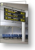 Airport Concourse Greeting Cards - Airport Directional Signs Greeting Card by Jaak Nilson