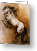 Horses Greeting Cards - Airs Above Greeting Card by Mary Leslie