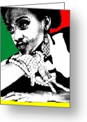 Makeup Greeting Cards - Aisha Jamaica Greeting Card by Irina  March