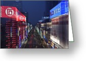 Hustle Bustle Greeting Cards - Akihabara District in Tokyo Greeting Card by Rob Tilley