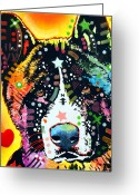 Acrylic Greeting Cards - Akita 2 Greeting Card by Dean Russo