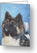 L.a.shepard Greeting Cards - Akita in snow Greeting Card by L A Shepard