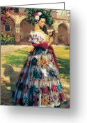 Dress Greeting Cards - Al Aire Libre Greeting Card by Jean Hildebrant